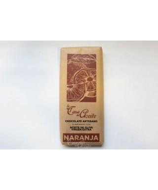 Chocolate Artesano con Aceite de Oliva y relleno de Naranja